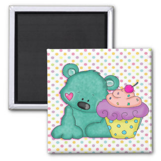 Cute Blue Bear WIth Yummy Purple and Pink Cupcake 2 Inch Square Magnet