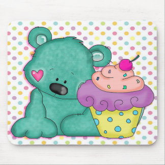 Cute Blue Bear WIth Yummy Purple and Pink Cupcake Mouse Pad
