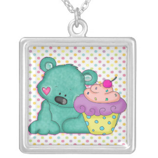 Cute Blue Bear WIth Yummy Purple and Pink Cupcake Square Pendant Necklace