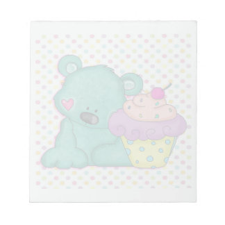 Cute Blue Bear WIth Yummy Purple and Pink Cupcake Note Pads