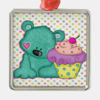Cute Blue Bear WIth Yummy Purple and Pink Cupcake Square Metal Christmas Ornament