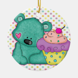 Cute Blue Bear WIth Yummy Purple and Pink Cupcake Double-Sided Ceramic Round Christmas Ornament