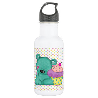 Cute Blue Bear WIth Yummy Purple and Pink Cupcake 18oz Water Bottle