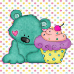 Cute Blue Bear WIth Yummy Purple and Pink Cupcake Cut Out