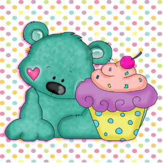 Cute Blue Bear WIth Yummy Purple and Pink Cupcake Photo Sculpture Keychain