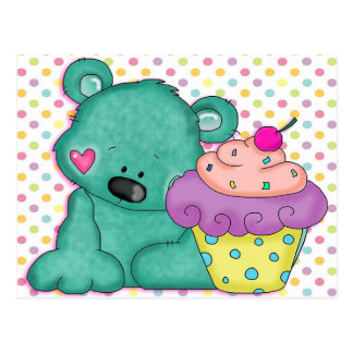 Cute Blue Bear WIth Yummy Purple and Pink Cupcake Postcard