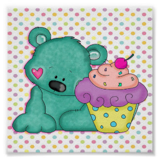 Cute Blue Bear WIth Yummy Purple and Pink Cupcake Poster
