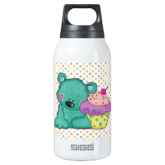 Cute Blue Bear WIth Yummy Purple and Pink Cupcake 10 Oz Insulated SIGG Thermos Water Bottle