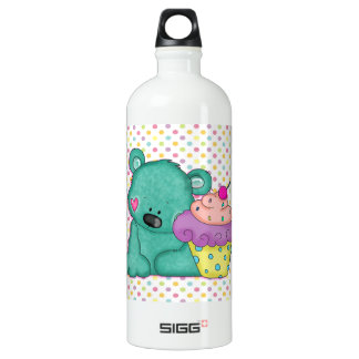 Cute Blue Bear WIth Yummy Purple and Pink Cupcake SIGG Traveler 1.0L Water Bottle