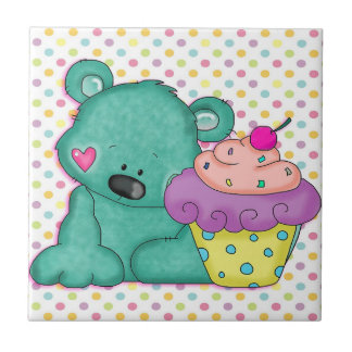 Cute Blue Bear WIth Yummy Purple and Pink Cupcake Small Square Tile
