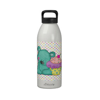Cute Blue Bear WIth Yummy Purple and Pink Cupcake Drinking Bottles
