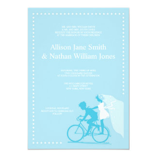 CUTE Blue Bicycle Couple Wedding Invitation