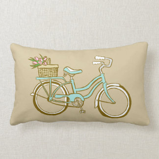 Cute Blue Bicycle with Tulips Lumbar Pillow