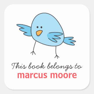 Cute blue bird animal cartoon bookplate square sticker