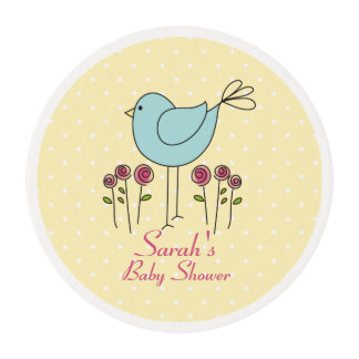 Cute Blue Bird Baby Shower Icing Rounds