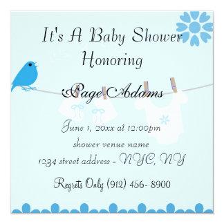 Cute Blue Bird Baby Shower Invitation