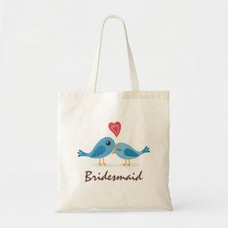 Cute blue bird couple love cartoon bridesmaid tote bag