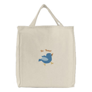 Cute Blue Bird Embroider Design Perfect For Spring Embroidered Tote Bag