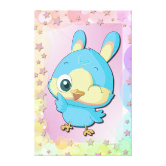 Cute Blue Bird Funny Cartoon Character Canvas