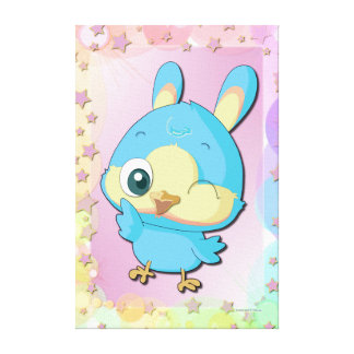 Cute Blue Bird Funny Cartoon Character Canvas Stretched Canvas Print