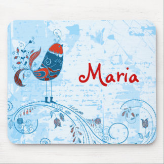 Cute Blue Bird Girly Retro Floral Fashion Mouse Pad