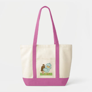 Cute Blue Bird Ice Cream Book Bag