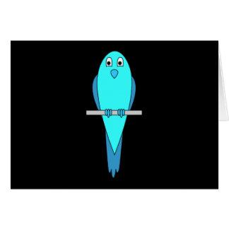 Cute Blue Bird. Parakeet. Black Card