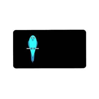 Cute Blue Bird. Parakeet. Black Label