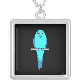 Cute Blue Bird Parakeet Black Jewelry
