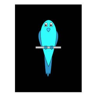 Cute Blue Bird. Parakeet. Black Postcard
