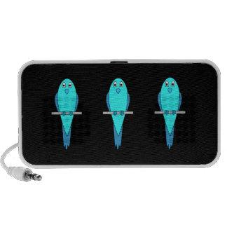 Cute Blue Bird. Parakeet. Black Laptop Speaker