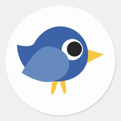 Cute Blue Bird Round Stickers