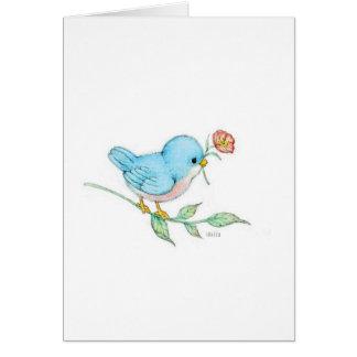 cute blue bird watercolor blank note card