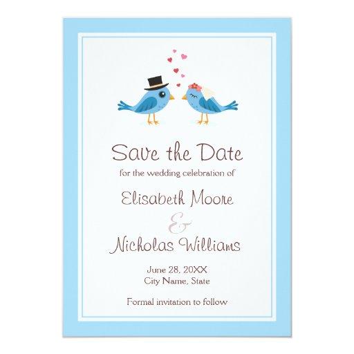 Cute blue bird wedding save the date announcement