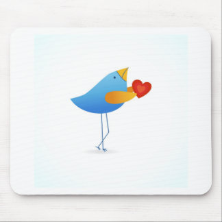Cute blue bird with heart mouse pad