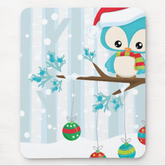 Cute Blue Birdie on A Branch In The Forest Mouse Pad