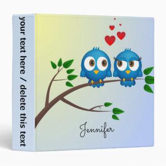 Cute blue birds in love cartoon 3 ring binder