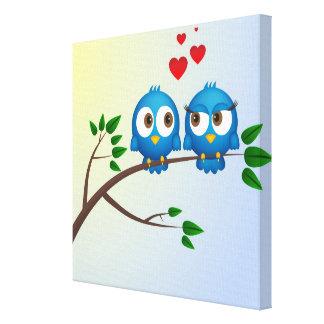Cute blue birds in love cartoon canvas print