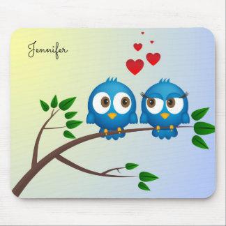 Cute blue birds in love cartoon mouse pad