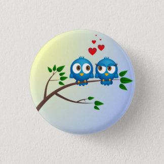 Cute blue birds in love cartoon pinback button