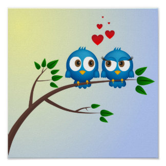 Cute blue birds in love cartoon poster