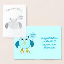 Cute Blue Birthday Boy Owl Foil Card