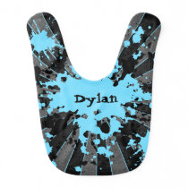 Cute blue black baby bib