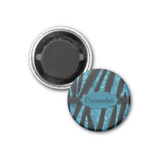 Cute Blue Black Glittery Zebra Striped Print 1 Inch Round Magnet