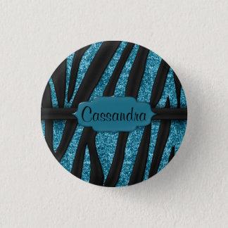 Cute Blue Black Glittery Zebra Striped Print Button