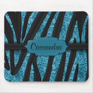 Cute Blue Black Glittery Zebra Striped Print Mouse Pad