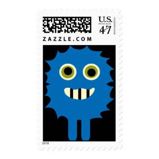 Cute Blue Black Monster Postage Stamps