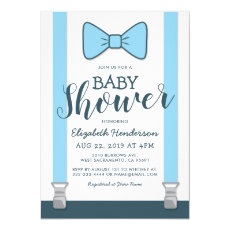 Cute Blue Bow Tie Baby Shower Invitation Template