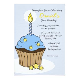 CUTE Blue Boy Cupcake Birthday Invitation