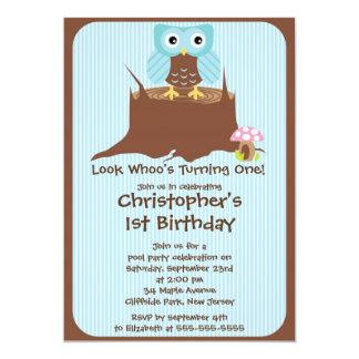 Cute Blue Boy Owl Birthday Party Invitations